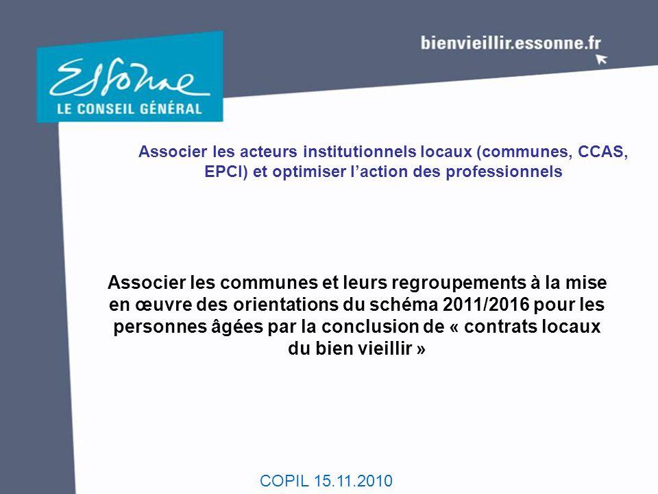 COPIL 15.11.2010 Associer les acteurs institutionnels locaux (communes, CCAS, EPCI) et optimiser l'action des professionnels Associer les communes et