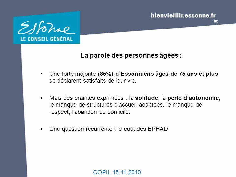 COPIL 15.11.2010 Quelques attentes des Essonniens : - Vivre chez soi en bénéficiant de services à la personne et en disposant d'un logement adapté (88%).