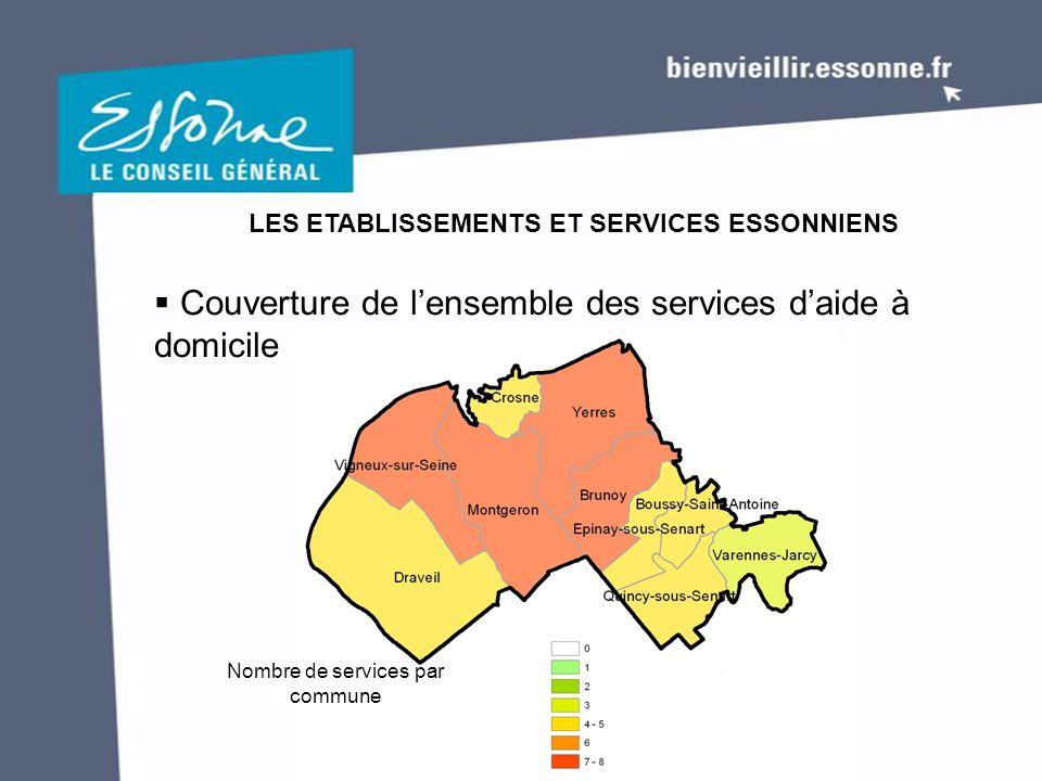  Couverture de l'ensemble des services d'aide à domicile LES ETABLISSEMENTS ET SERVICES ESSONNIENS Nombre de services par commune