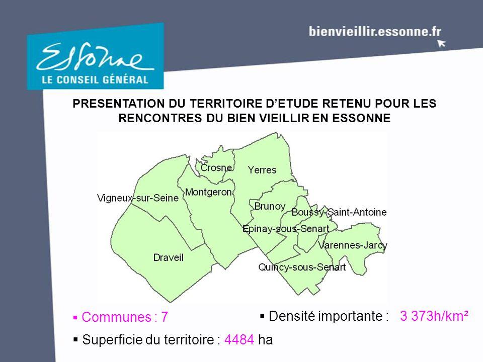 PRESENTATION DU TERRITOIRE D'ETUDE RETENU POUR LES RENCONTRES DU BIEN VIEILLIR EN ESSONNE  Communes : 7  Superficie du territoire : 4484 ha  Densit
