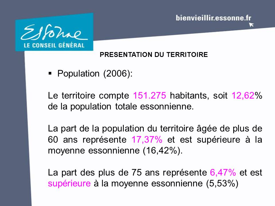  Population (2006): Le territoire compte 151.275 habitants, soit 12,62% de la population totale essonnienne. La part de la population du territoire â