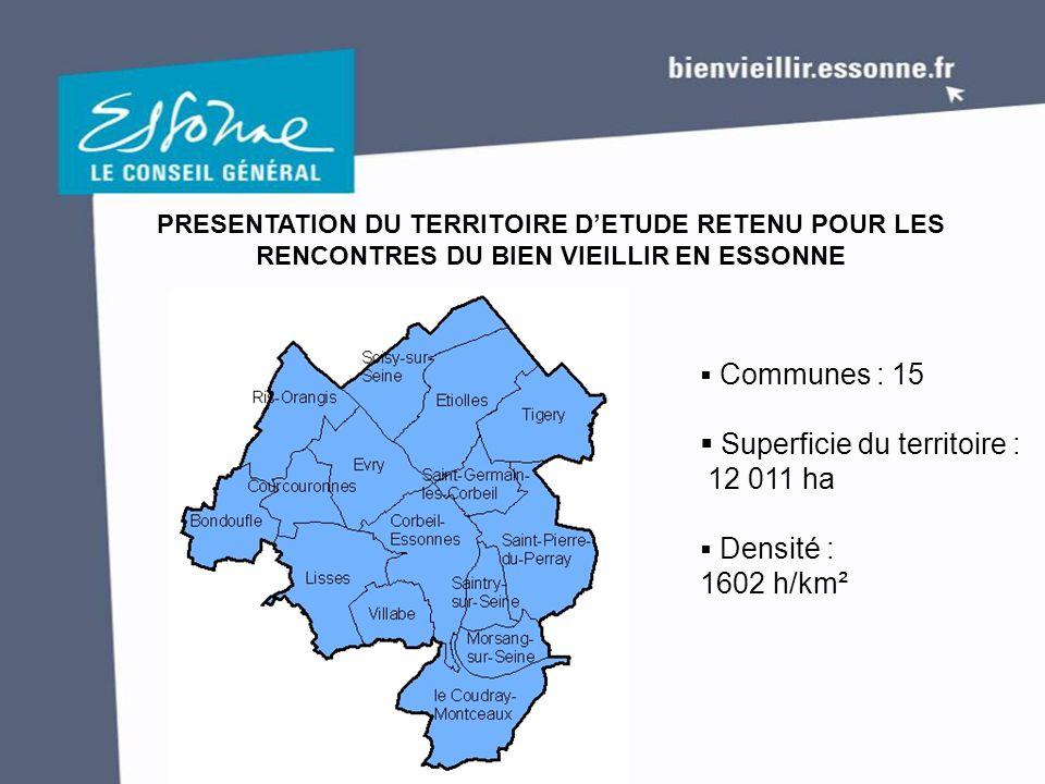 PRESENTATION DU TERRITOIRE D'ETUDE RETENU POUR LES RENCONTRES DU BIEN VIEILLIR EN ESSONNE  Communes : 15  Superficie du territoire : 12 011 ha  Densité : 1602 h/km²