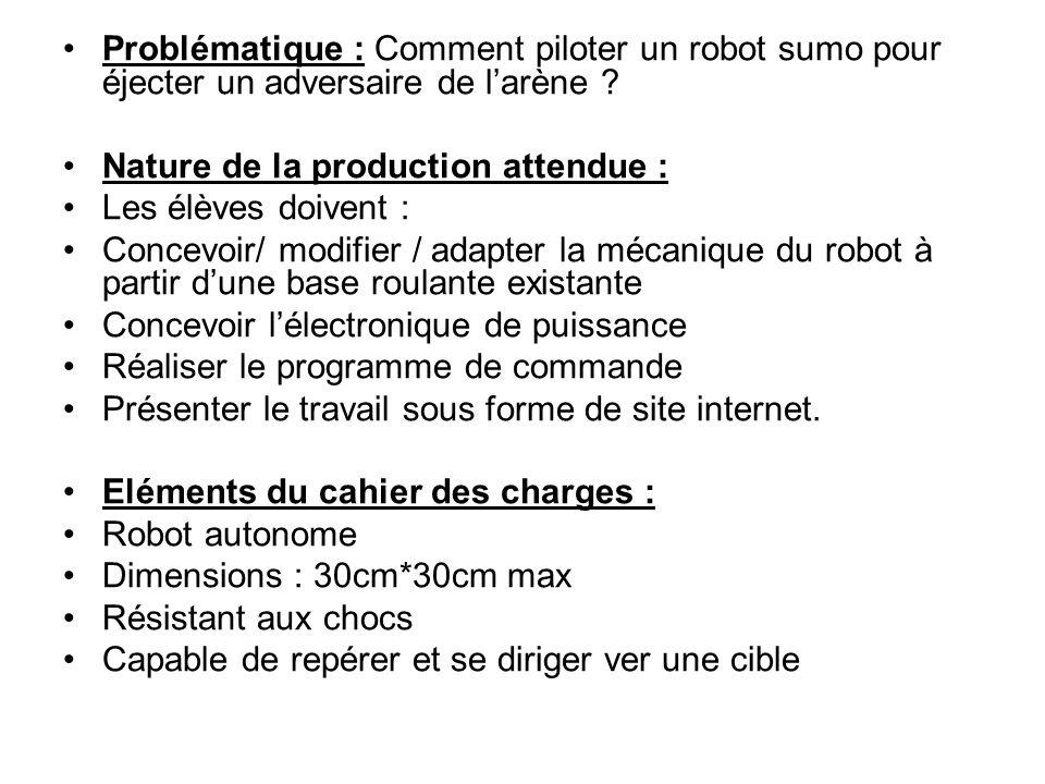 Problématique : Comment piloter un robot sumo pour éjecter un adversaire de l'arène ? Nature de la production attendue : Les élèves doivent : Concevoi