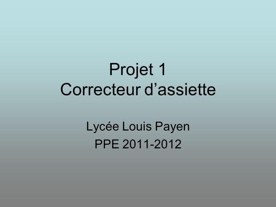 Projet 1 Correcteur d'assiette Lycée Louis Payen PPE 2011-2012