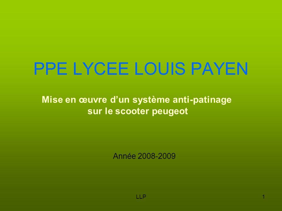 LLP1 PPE LYCEE LOUIS PAYEN Année 2008-2009 Mise en œuvre d'un système anti-patinage sur le scooter peugeot