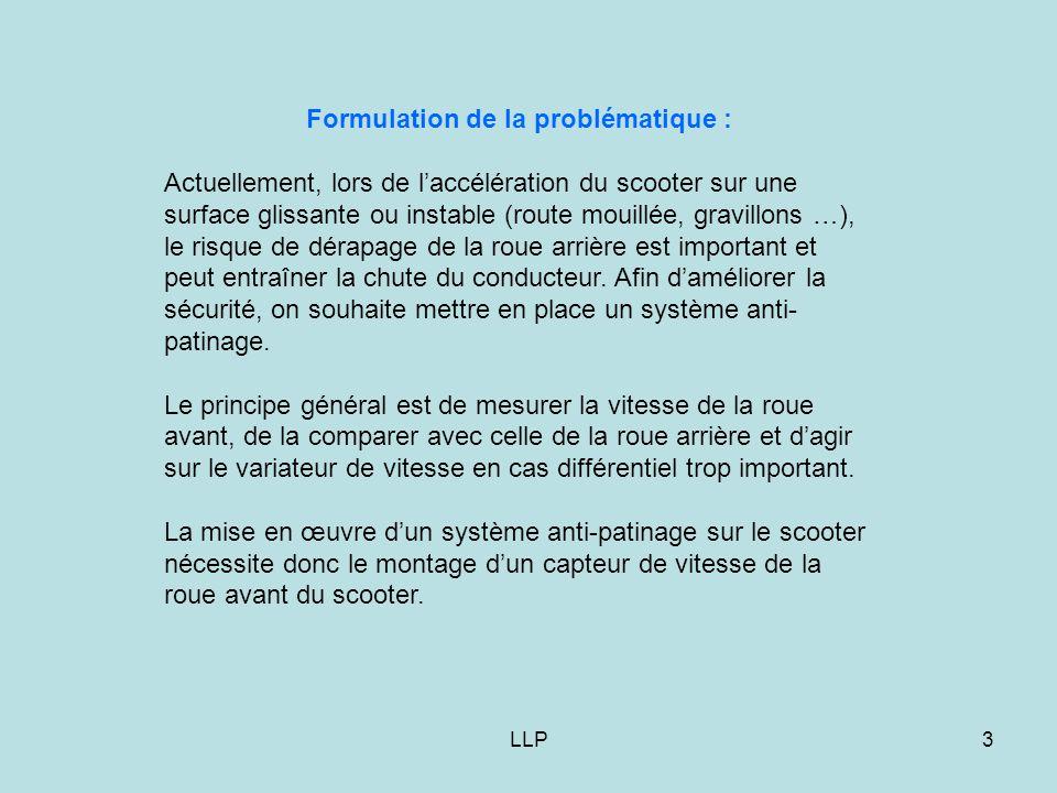 LLP3 Formulation de la problématique : Actuellement, lors de l'accélération du scooter sur une surface glissante ou instable (route mouillée, gravillo