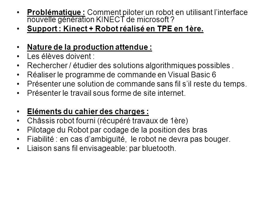 Problématique : Comment piloter un robot en utilisant l'interface nouvelle génération KINECT de microsoft ? Support : Kinect + Robot réalisé en TPE en