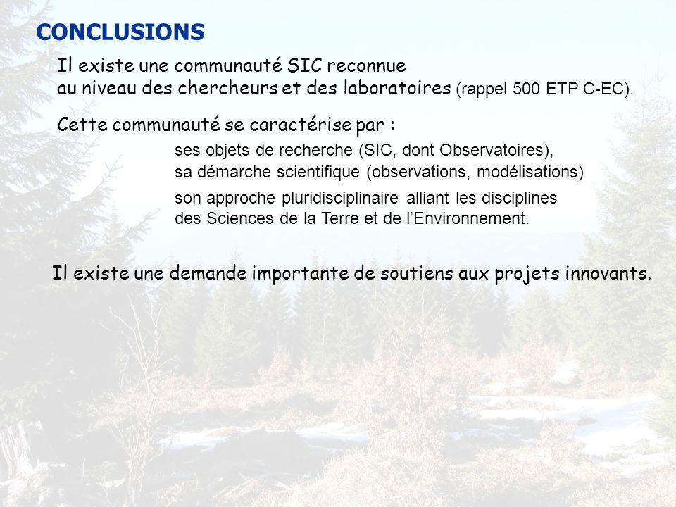CONCLUSIONS Il existe une communauté SIC reconnue au niveau des chercheurs et des laboratoires (rappel 500 ETP C-EC).