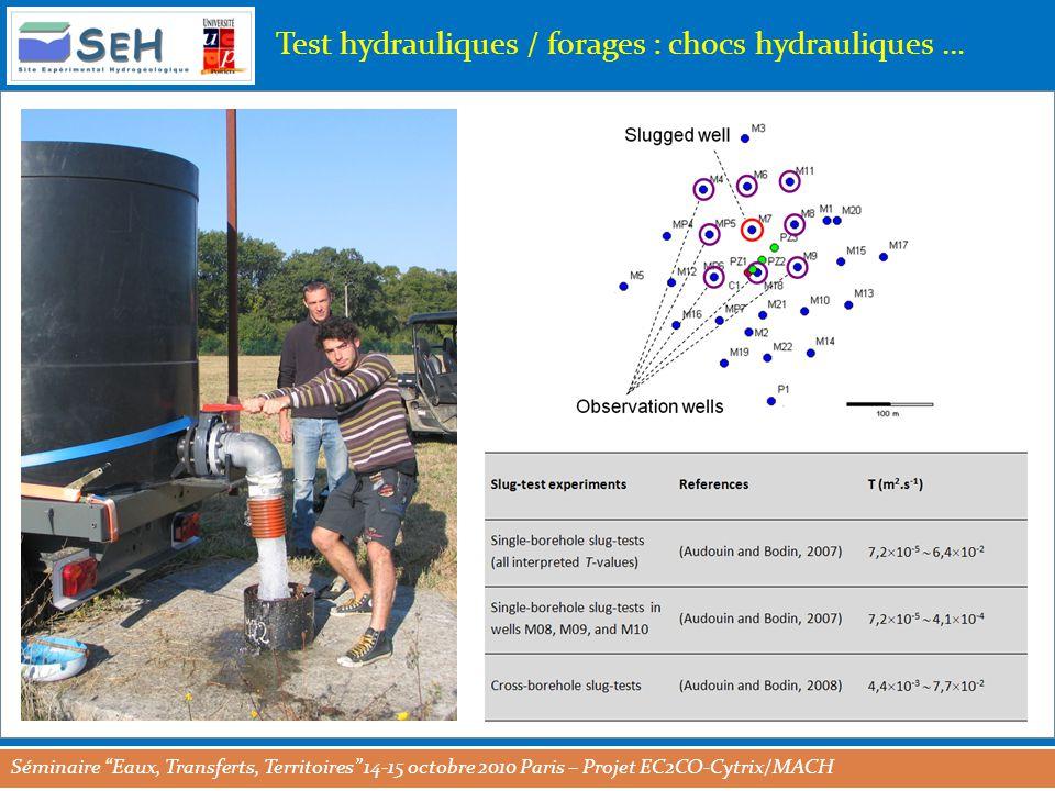 Séminaire Eaux, Transferts, Territoires 14-15 octobre 2010 Paris – Projet EC2CO-Cytrix/MACH Test hydrauliques / forages : chocs hydrauliques …