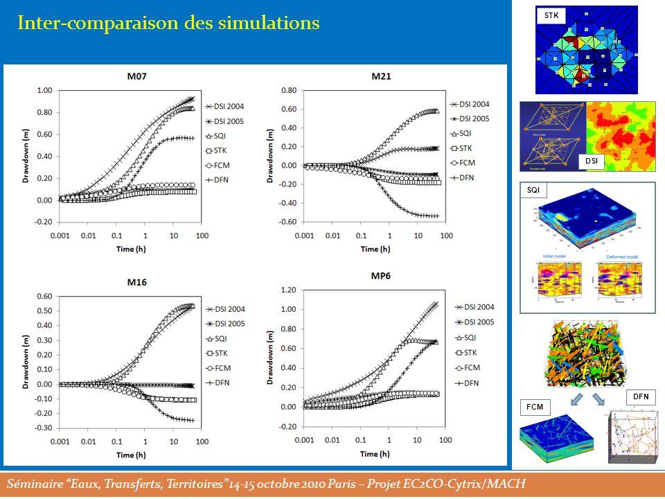 Séminaire Eaux, Transferts, Territoires 14-15 octobre 2010 Paris – Projet EC2CO-Cytrix/MACH STK DSI SQI FCM DFN Inter-comparaison des simulations