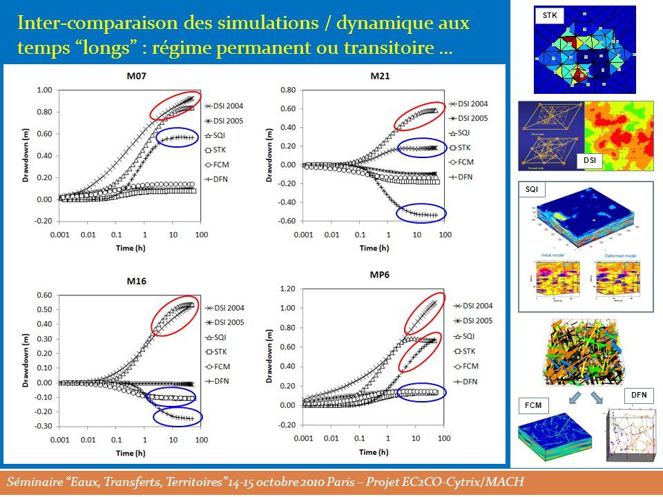 Séminaire Eaux, Transferts, Territoires 14-15 octobre 2010 Paris – Projet EC2CO-Cytrix/MACH STK DSI SQI FCM DFN Inter-comparaison des simulations / dynamique aux temps longs : régime permanent ou transitoire …