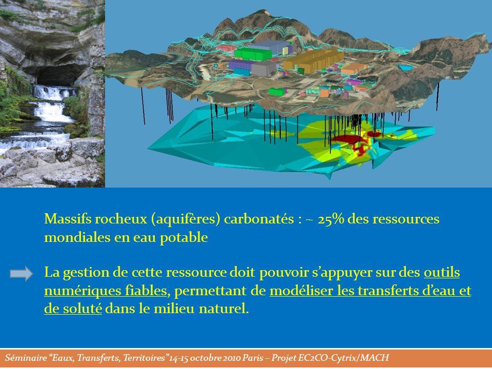 Séminaire Eaux, Transferts, Territoires 14-15 octobre 2010 Paris – Projet EC2CO-Cytrix/MACH Massifs rocheux (aquifères) carbonatés : ~ 25% des ressources mondiales en eau potable La gestion de cette ressource doit pouvoir s'appuyer sur des outils numériques fiables, permettant de modéliser les transferts d'eau et de soluté dans le milieu naturel.