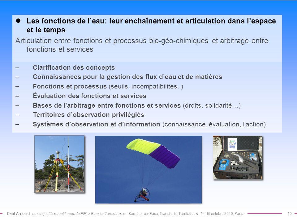 Paul Arnould, Les objectifs scientifiques du PIR « Eaux et Territoires » – Séminaire « Eaux, Transferts, Territoires », 14-15 octobre 2010, Paris10 Le