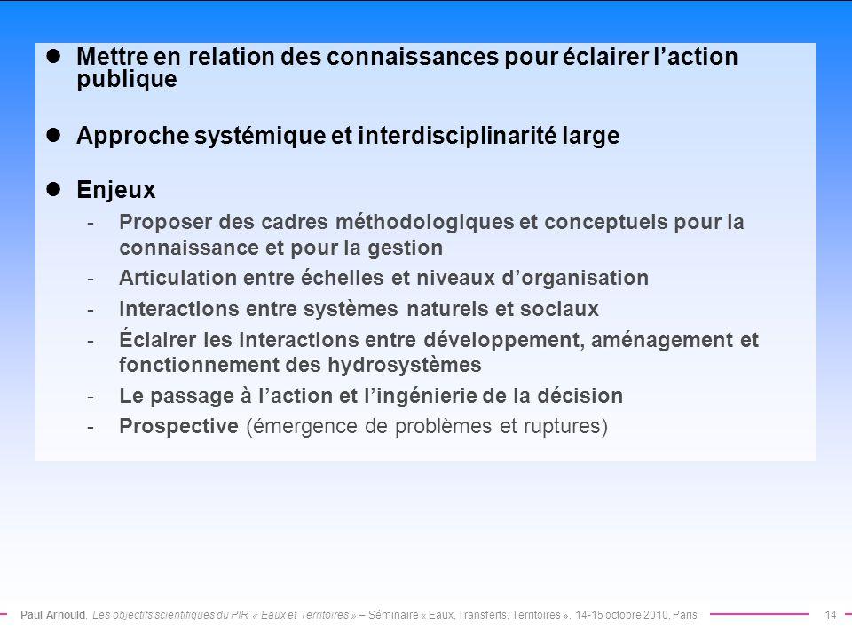 Paul Arnould, Les objectifs scientifiques du PIR « Eaux et Territoires » – Séminaire « Eaux, Transferts, Territoires », 14-15 octobre 2010, Paris14 Me