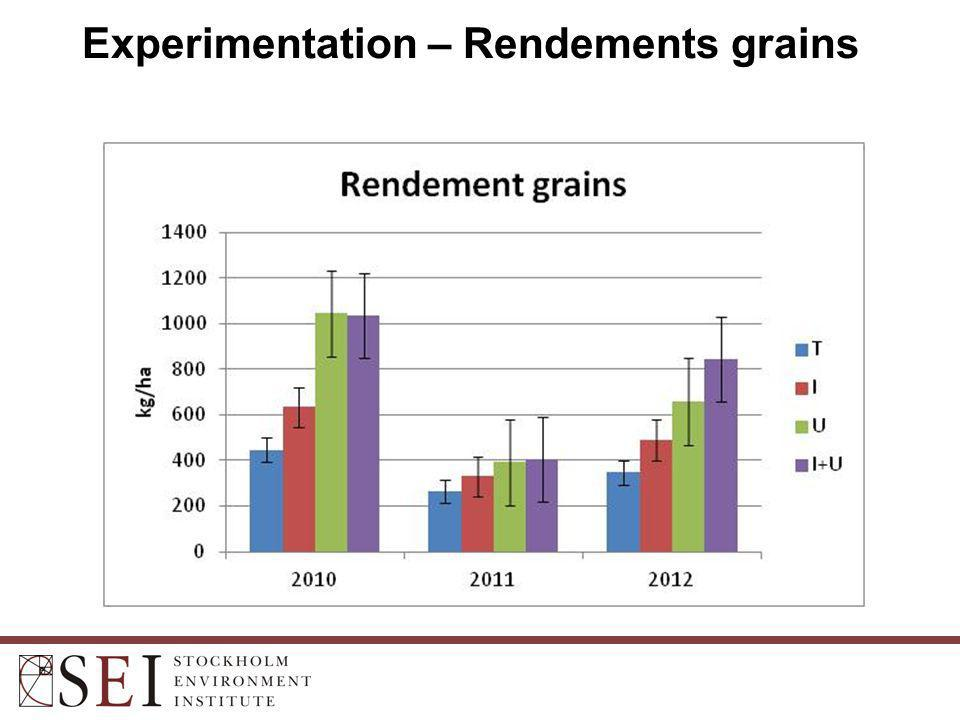 Experimentation – Rendements grains