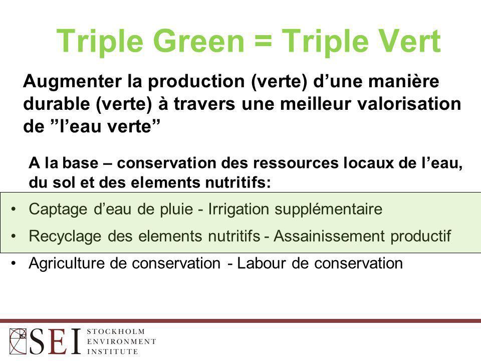Augmenter la production (verte) d'une manière durable (verte) à travers une meilleur valorisation de l'eau verte Triple Green = Triple Vert A la base – conservation des ressources locaux de l'eau, du sol et des elements nutritifs: Captage d'eau de pluie - Irrigation supplémentaire Recyclage des elements nutritifs - Assainissement productif Agriculture de conservation - Labour de conservation
