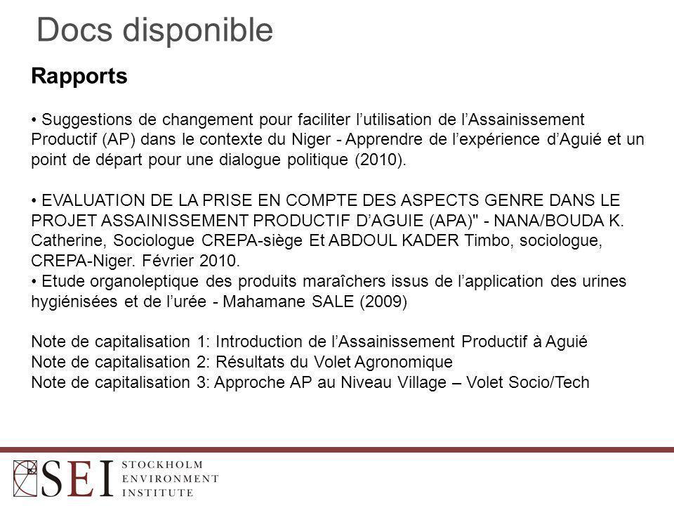 Docs disponible Rapports Suggestions de changement pour faciliter l'utilisation de l'Assainissement Productif (AP) dans le contexte du Niger - Apprendre de l'expérience d'Aguié et un point de départ pour une dialogue politique (2010).
