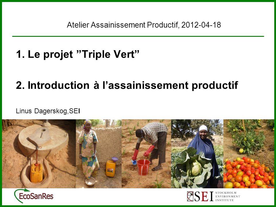 « Assainissement Productif (AP) / Assainissement Ecologique (ECOSAN)» Les systèmes AP/EcoSan sont conçus pour faciliter la valorisation d'une manière saine les ressources dans l'excréta (fertilisants et matière organique) dans la production agricole « Assainissement durable » Des systèmes de l'assainissement qui protègent la santé humain, minimisent la dégradation environnemental et l'épuisement des ressources.