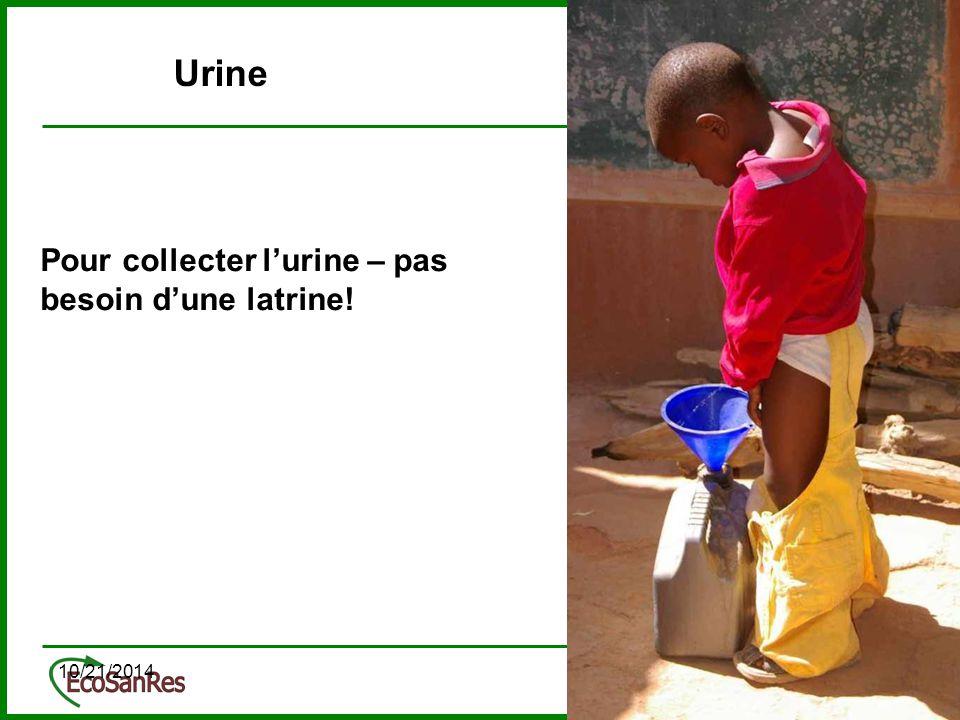 10/21/201415 Pour collecter l'urine – pas besoin d'une latrine! Urine