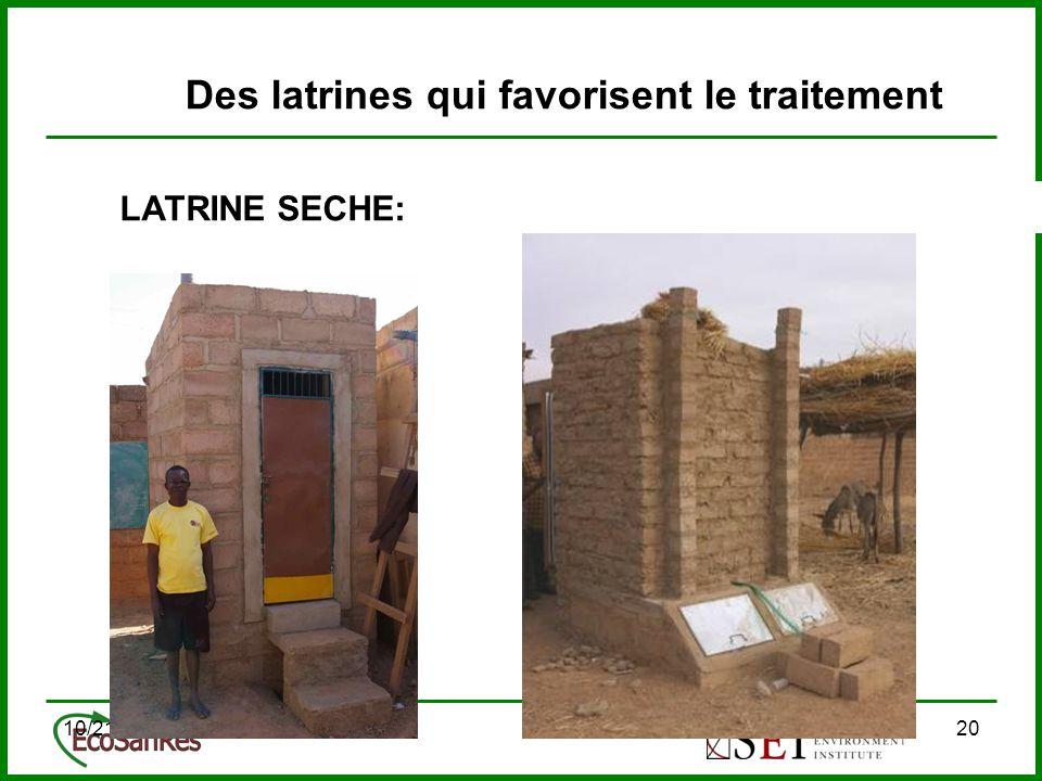 10/21/201420 Des latrines qui favorisent le traitement LATRINE SECHE: