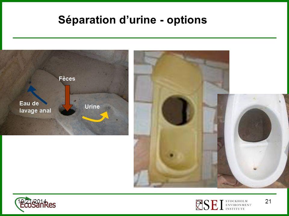 10/21/201421 Séparation d'urine - options