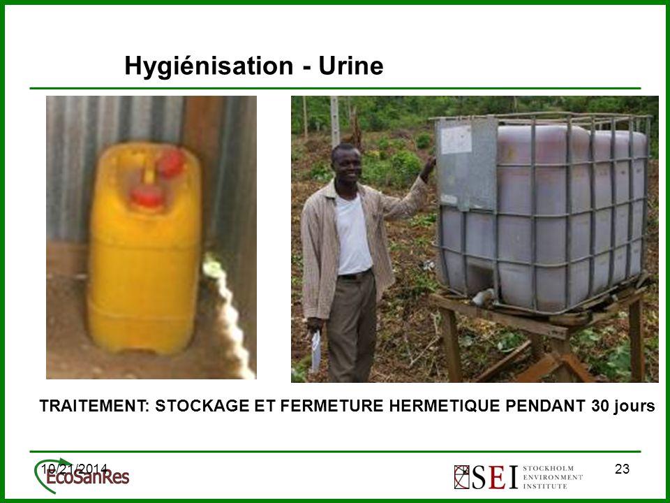 10/21/201423 TRAITEMENT: STOCKAGE ET FERMETURE HERMETIQUE PENDANT 30 jours Hygiénisation - Urine