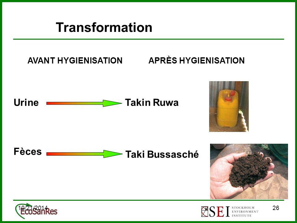 10/21/201426 AVANT HYGIENISATION Fèces Urine APRÈS HYGIENISATION Takin Ruwa Taki Bussasché Transformation
