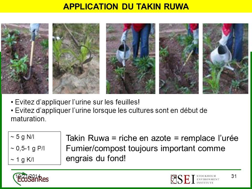 10/21/201431 APPLICATION DU TAKIN RUWA Evitez d'appliquer l'urine sur les feuilles.