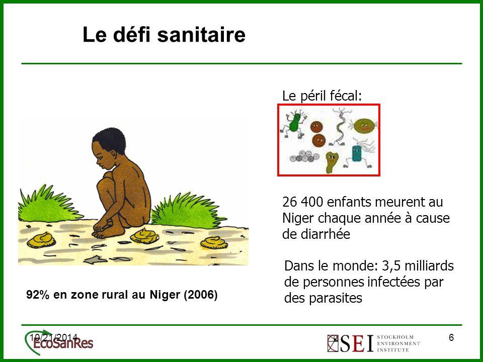 10/21/201447 Etude institutionnelle au Niger (2009) Est-ce que l'approche AP est conforme aux stratégies et cadres institutionnelles en ce qui concerne l'assainissement et l'agriculture au Niger.