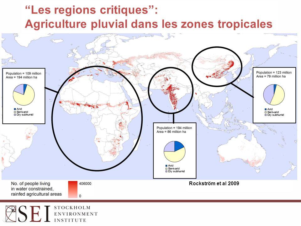 Les regions critiques : Agriculture pluvial dans les zones tropicales Rockström et al 2009