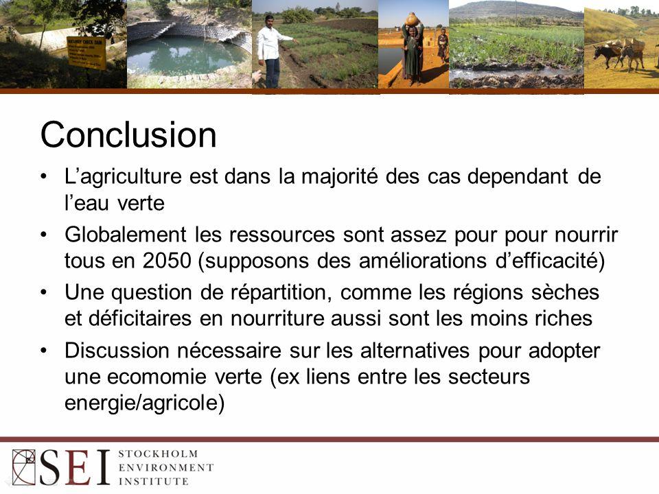Conclusion L'agriculture est dans la majorité des cas dependant de l'eau verte Globalement les ressources sont assez pour pour nourrir tous en 2050 (supposons des améliorations d'efficacité) Une question de répartition, comme les régions sèches et déficitaires en nourriture aussi sont les moins riches Discussion nécessaire sur les alternatives pour adopter une ecomomie verte (ex liens entre les secteurs energie/agricole)