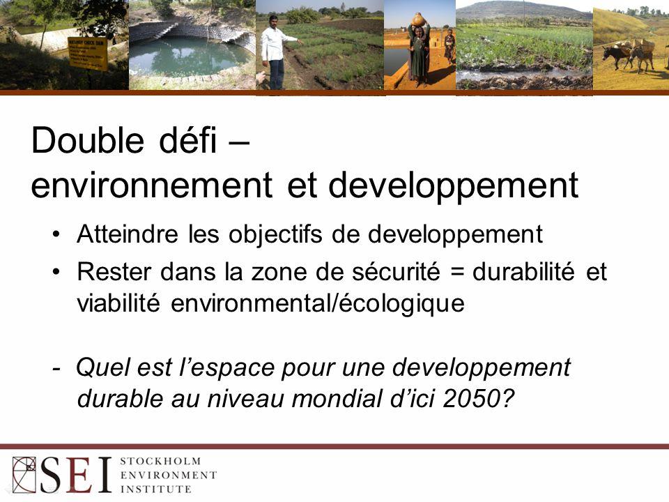 Double défi – environnement et developpement Atteindre les objectifs de developpement Rester dans la zone de sécurité = durabilité et viabilité environmental/écologique - Quel est l'espace pour une developpement durable au niveau mondial d'ici 2050?