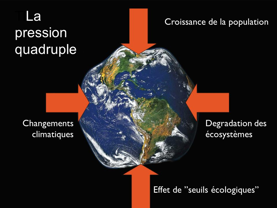 Croissance de la population Degradation des écosystèmes Changements climatiques Effet de seuils écologiques TlLa pression quadruple