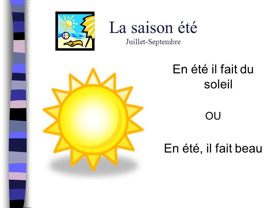 La saison été Juillet-Septembre En été il fait du soleil OU En été, il fait beau