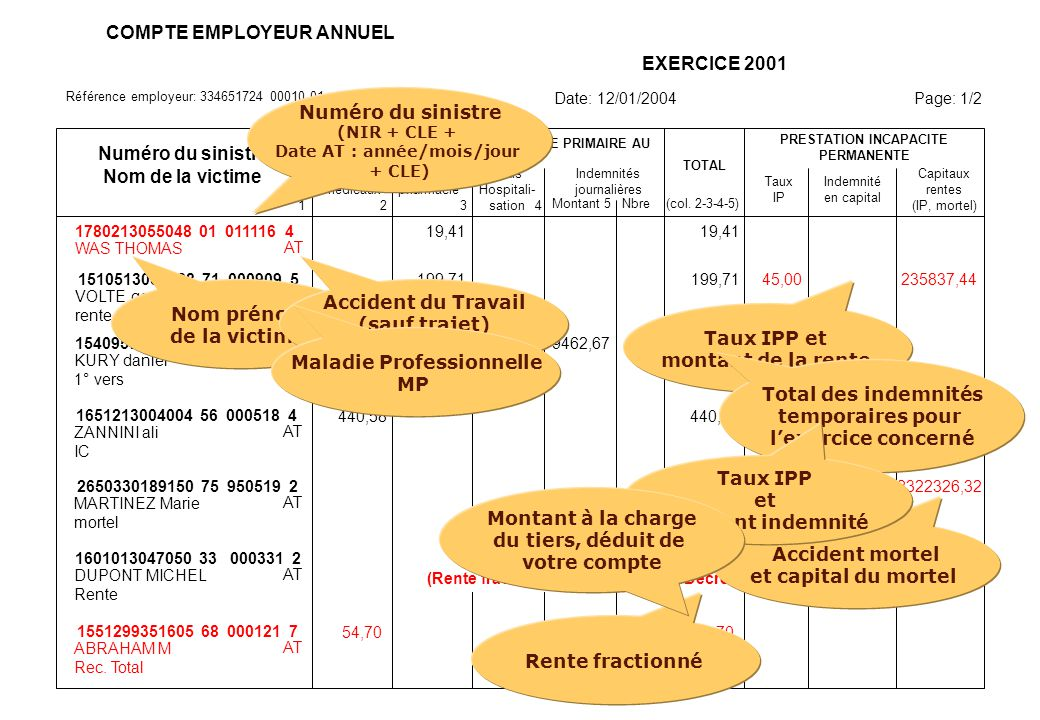 Référence employeur: 334651724 00010 01 COMPTE EMPLOYEUR ANNUEL EXERCICE 2001 Date: 12/01/2004 Page: 1/2 Numéro du sinistre Nom de la victime 12 SOMME
