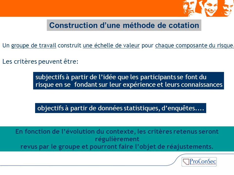 Construction d'une méthode de cotation Un groupe de travail construit une échelle de valeur pour chaque composante du risque. Les critères peuvent êtr
