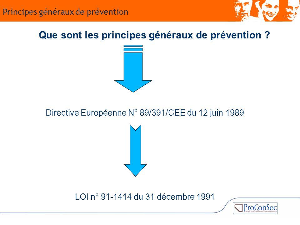 Que sont les principes généraux de prévention ? LOI n° 91-1414 du 31 décembre 1991 Directive Européenne N° 89/391/CEE du 12 juin 1989 Principes généra