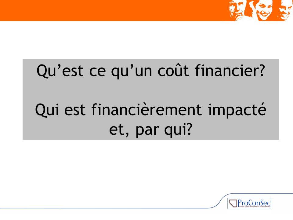 Qu'est ce qu'un coût financier? Qui est financièrement impacté et, par qui?