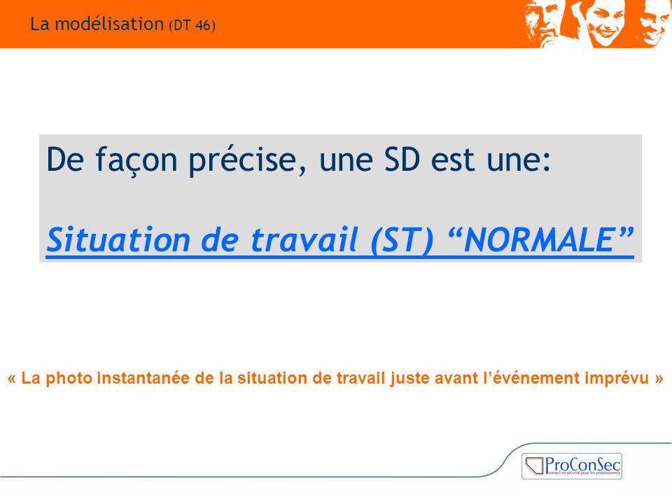 """De façon précise, une SD est une: Situation de travail (ST) """"NORMALE"""" La modélisation (DT 46) « La photo instantanée de la situation de travail juste"""
