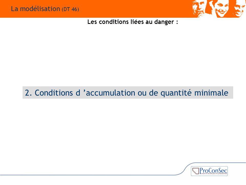 2. Conditions d 'accumulation ou de quantité minimale Les conditions liées au danger : La modélisation (DT 46)