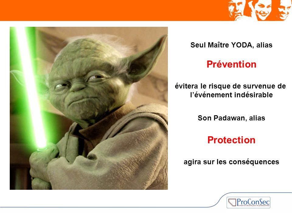 Seul Maître YODA, alias Prévention évitera le risque de survenue de l'événement indésirable Son Padawan, alias Protection agira sur les conséquences
