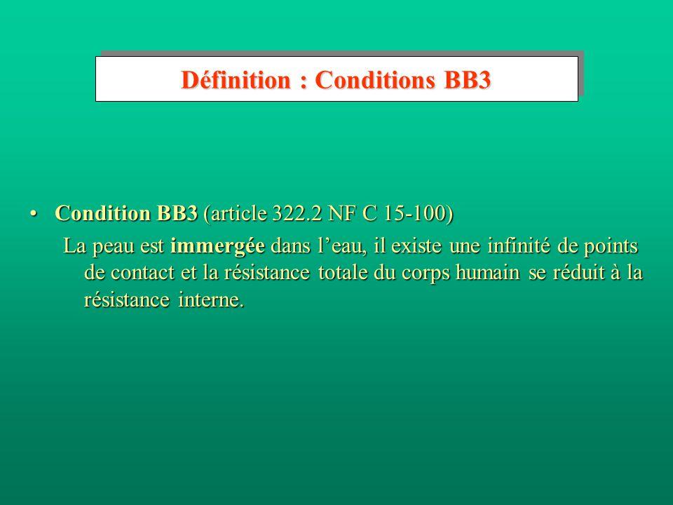 Définition : Conditions BB2 Condition BB2 (article 322.2 NF C 15-100)Condition BB2 (article 322.2 NF C 15-100) La peau est mouillée, le sol présente une résistance faible, et les personnes se trouvent dans des locaux (ou emplacements) mouillés (condition d'influences externes AD4, AD5 et AD6).