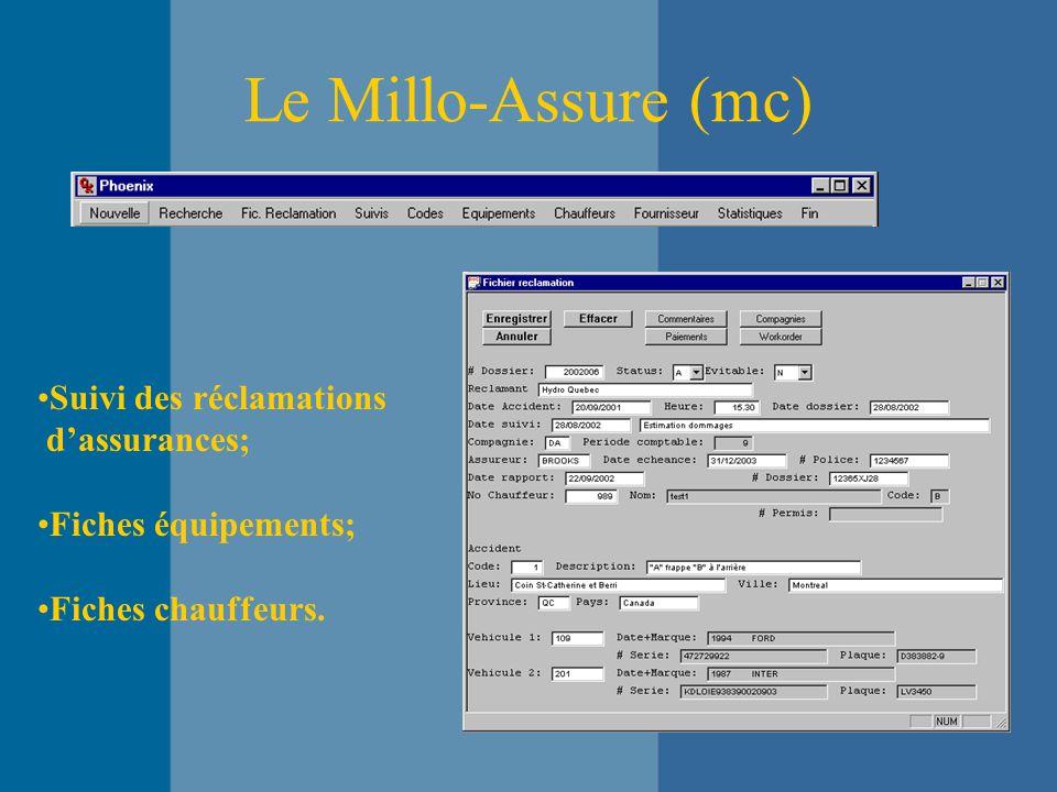 Le Millo-Assure (mc) Suivi des réclamations d'assurances; Fiches équipements; Fiches chauffeurs.