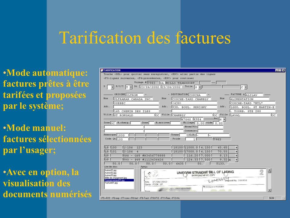 Tarification des factures Mode automatique: factures prêtes à être tarifées et proposées par le système; Mode manuel: factures sélectionnées par l'usager; Avec en option, la visualisation des documents numérisés