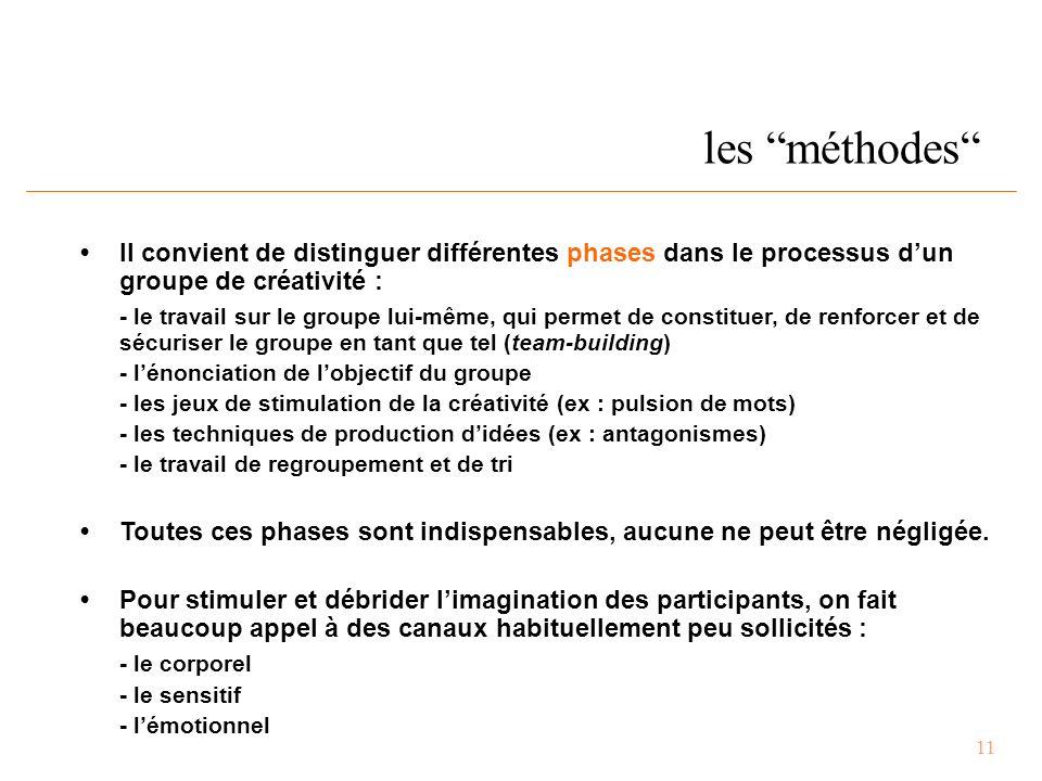 11 les méthodes Il convient de distinguer différentes phases dans le processus d'un groupe de créativité : - le travail sur le groupe lui-même, qui permet de constituer, de renforcer et de sécuriser le groupe en tant que tel (team-building) - l'énonciation de l'objectif du groupe - les jeux de stimulation de la créativité (ex : pulsion de mots) - les techniques de production d'idées (ex : antagonismes) - le travail de regroupement et de tri Toutes ces phases sont indispensables, aucune ne peut être négligée.