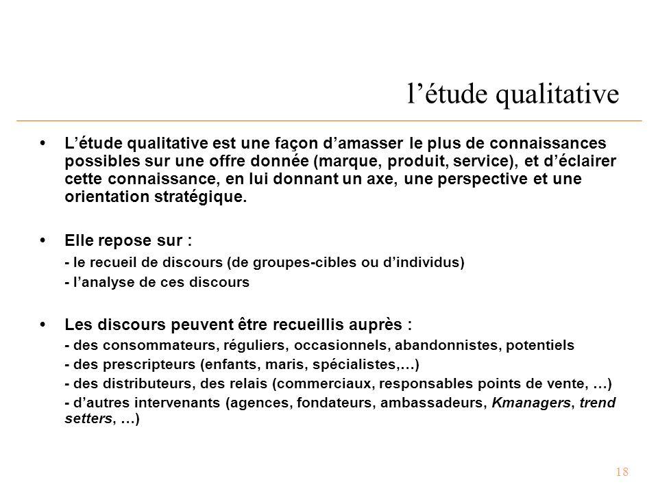 18 l'étude qualitative L'étude qualitative est une façon d'amasser le plus de connaissances possibles sur une offre donnée (marque, produit, service), et d'éclairer cette connaissance, en lui donnant un axe, une perspective et une orientation stratégique.