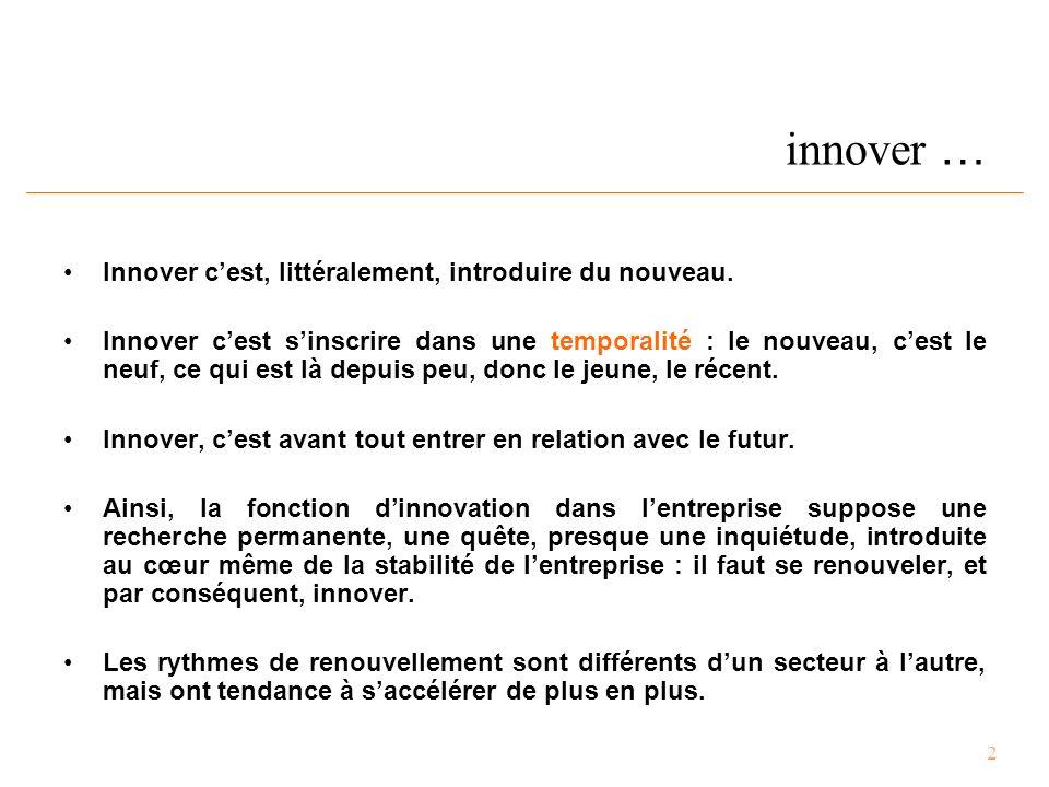 2 innover … Innover c'est, littéralement, introduire du nouveau.