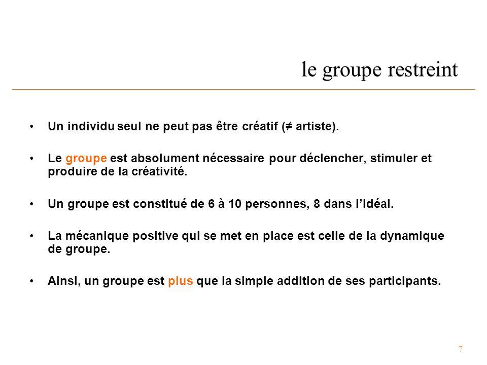 7 le groupe restreint Un individu seul ne peut pas être créatif (≠ artiste).