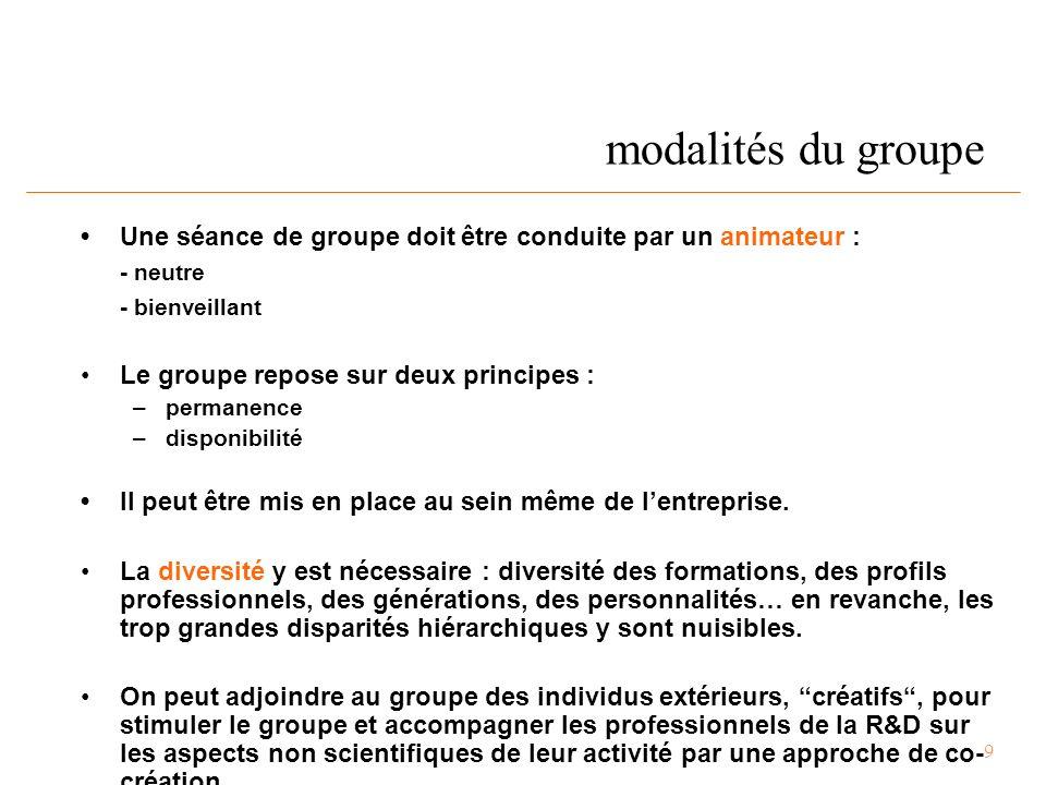 9 modalités du groupe Une séance de groupe doit être conduite par un animateur : - neutre - bienveillant Le groupe repose sur deux principes : – permanence – disponibilité Il peut être mis en place au sein même de l'entreprise.