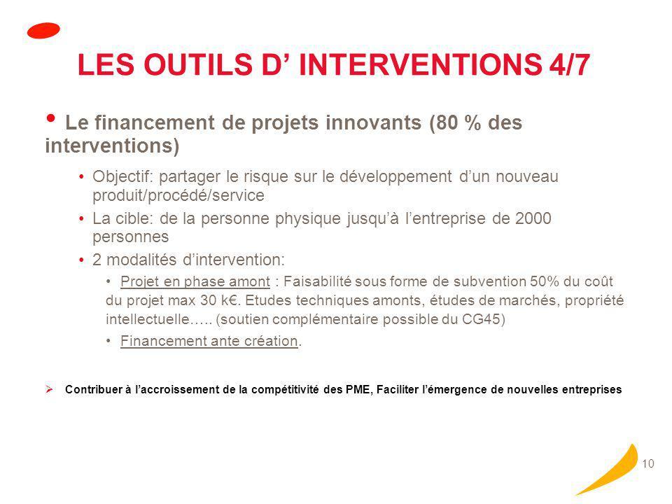 10 LES OUTILS D' INTERVENTIONS 4/7 Le financement de projets innovants (80 % des interventions) Objectif: partager le risque sur le développement d'un nouveau produit/procédé/service La cible: de la personne physique jusqu'à l'entreprise de 2000 personnes 2 modalités d'intervention: Projet en phase amont : Faisabilité sous forme de subvention 50% du coût du projet max 30 k€.
